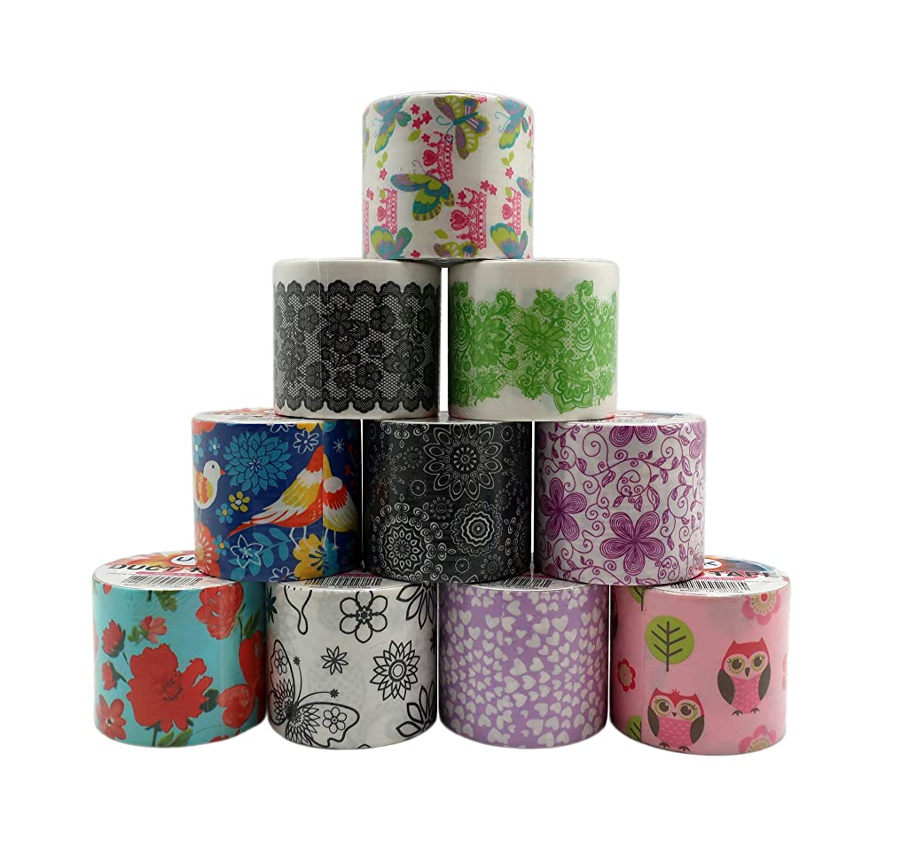 "Decorative Duct Tape - Assorted Printed Designs - 10 Rolls - for Duct Tape Crafts Projects – Single Roll 5.46 Yards x 1.88"" - Total Rolls 54.6 Yards x 1.88"" (50m x 48mm) (Set 1)"
