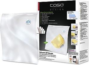 CASO Woreczki z zamkiem błyskawicznym do pakowania próżniowego, 20 sztuk, 26 x 35 cm, 150 µm, do zgrzewarki próżniowej Cas...