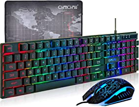 (Upgrade Version) CHONCHOW LED Backlit Wired Gaming Keyboard and Mouse Mousepad Combo US Layout USB Keyboards Mechanical Feel with Multimedia Keys Character Illuminated for Windows Mac,1910B