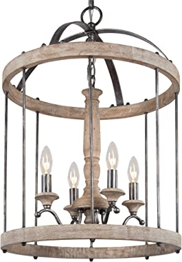 LOG BARN Farmhouse Chandelier for Dining Room, Wood Metal Hanging Light Fixture, 4-Light Foyer Chandeliers for High Ceilings,