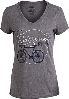 My Retirement Plan (Bicycle) | Funny Cycling Bike Joke V-Neck T-Shirt for Women