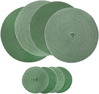 U'Artlines Placemats Indoor & Outdoor Round Cotton Table Mats with Coasters, Perfect for Fall, Dinner Parties, BBQs, Christmas Parties and Everyday Use (4pcs placemats+4pcs Coasters, A Green)