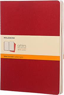 """Moleskine Cahier Soft Cover Journal, Set of 3, Ruled, XL (7.5"""" x 9.75"""") Cranberry Red - for Use as Journal, Sketchbook, Co..."""