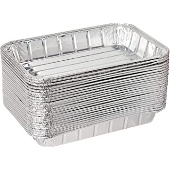"""Pack of 20 Disposable Aluminum Foil Toaster Oven Pans-Mini Broiler Pans   BPA Free   Perfect for Small Cakes or Personal Quiche   Standard Size - 8 1/2"""" x 6"""""""