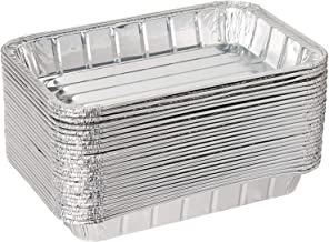 Pack of 50 Disposable Aluminum Foil Toaster Oven Pans -Mini Broiler Pans   BPA Free   Perfect for Small Cakes or Personal Quiche   Standard Size - 8 1/2