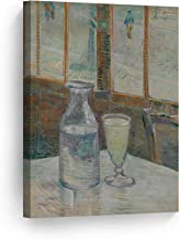 Smile Art Design Vincent Van Gogh Still Life with Glass of Absinthe and a Carafe, 1887 Canvas Print Decorative Art Wall Decor Artwork Modern Art-Ready to Hang -%100 Handmade in The USA - 12x8