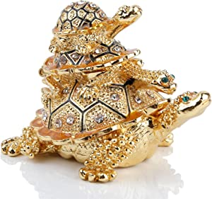 Golden Sea Turtles Figurines Jewerly Trinket Boxes Hinged for Home Decor
