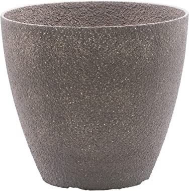 2-Pack 15-in. Round Faux Stone Resin Garden Potted Planter Flower Pot Indoor Outdoor, Brown