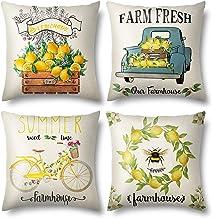 Cheerace Set of 4 Outdoor Throw Pillow Covers Summer Decorations Lemon Truck Bike bee Fresh Flowers Farmhouse Pillowcase C...