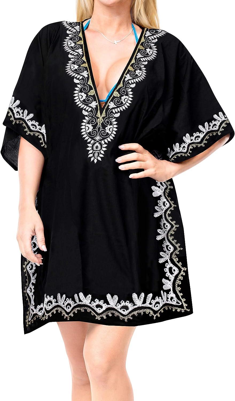 LA LEELA Women's Embroidered Swimwear Cover-up Beachwear Beach Vacation Dress AA