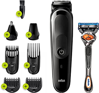 Braun 8 in 1, All in one Trimmer 5 MGK5260, Beard Trimmer, Hair Clipper and Face Trimmer, Black/Blue