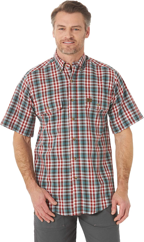 Wrangler Riggs Workwear Men's Short Sleeve Foreman Plaid Workshirt