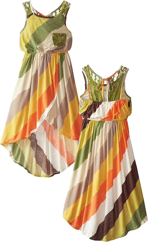 Amazon Com Big Girls Tween Green Multi Stripe Lace Pocket High Low Wrap Maxi Dress Clothing