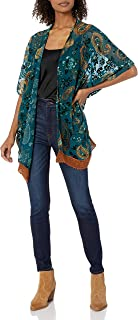 Women's Velvet Burnout Kimono with Crochet Hem