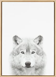 Kate and Laurel Sylvie Wolf Animal Print Black and White Portrait Framed Canvas Wall Art by Simon Te Tai, 23x33 Natural