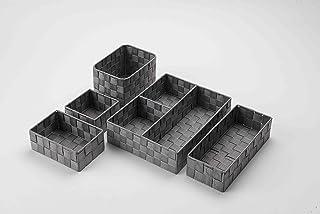 Compactor Lot complet Stan Gris, Organisateur taille S: 12 x 12 x H 7 cm, Organisateur taille M: 18 x 12 x H 7 cm, Organis...