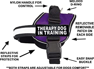 Therapy Dog in Training Nylon Dog Vest Harness. Purchase Comes with 2 Reflective Therapy Dog in Training Removable Patches. Please Measure Your Dog Before Ordering