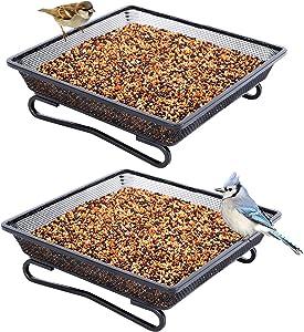 FEED GARDEN 2 Pack Platform Ground Bird Feeder Tray, Metal Mesh Seed Tray for Feeding Birds, Garden Decoration for Wild Birds and Squirrels, Size 7 x 7 x 2.2 Inches