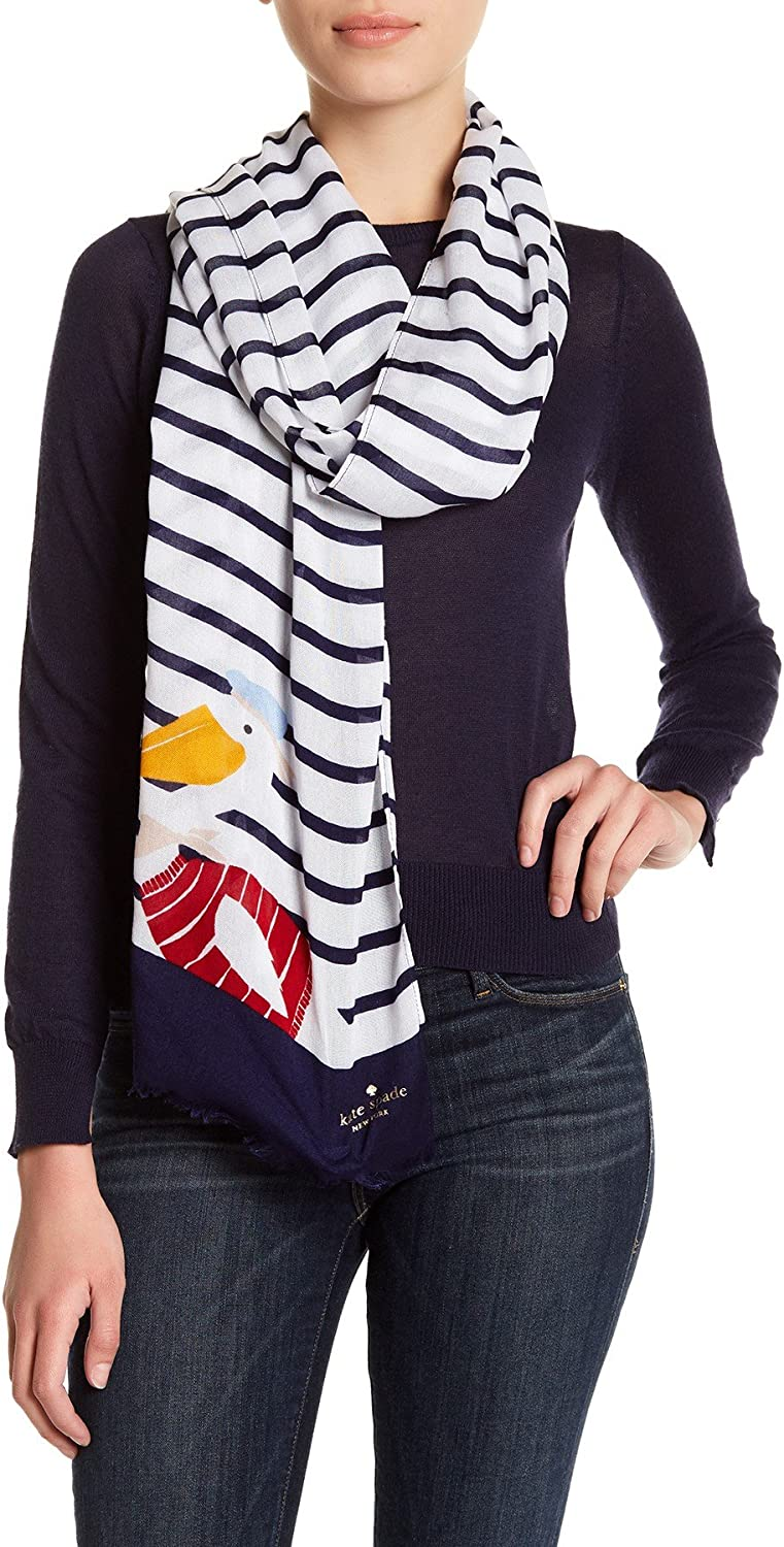 Kate Spade Woman's Percy on a Stripe Oblong Scarf Navy/Cream