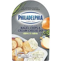 Philadelphia Multigrain Bagel Chips with Chive & Onion Cream Cheese Dip (2.5 oz Tub)