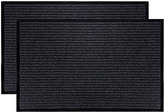 LuxUrux Durable Rubber Door Mat Set, Heavy Duty Doormat, Indoor Outdoor Rug, Easy Clean, Waterproof, Low-Profile Door Rugs...