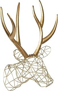 Kate and Laurel Milty Geometric Hanging Deer Head Metal Wall Art, Gold
