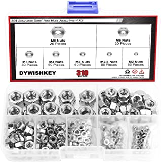 SBest 180Pcs 304 Stainless Steel Serrated Metric Flange Nuts Hex Lock Nuts,Hex Serrated Flange Nut Assortment Kit 7 Sizes Assortment Kit 180Pcs M3 M4 M5 M6 M8 M10 M12