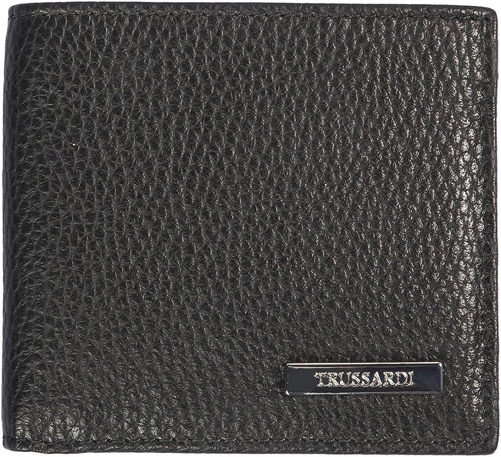 Trussardi, porta carte di credito, portafogli da uomo, in vera pelle, nero, 10,5x9,5x1,2cm 1DA730-parent_Chicca Tutt