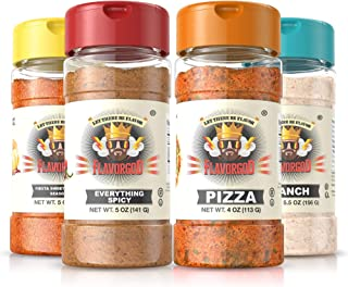 Flavor God #1 Best-Selling Seasonings, Popcorn Pack Combo, Ranch, Everything Spicy, Pizza, Fiesta Sweet and Tangy - Gluten...