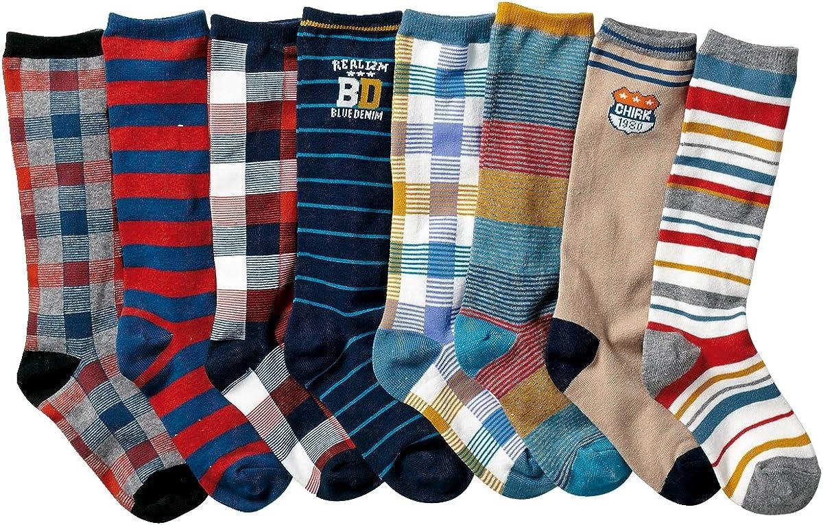 Little boys Knee High Socks Cotton Comfort Socks 8 Pair Pack