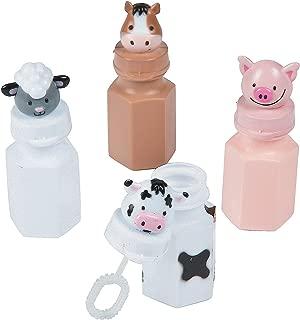 Fun Express Barnyard Bubble Bottles (Set of 12) Farm Animal Designs Include Horse, Sheep, Pig and Cow