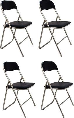 La Silla Española - Pack 4 Sillas plegables fabricadas en aluminio con asiento y respaldo acolchados en PVC, modelo Sevilla, Color negro. Medidas 78x43,5x46 cm: Amazon.es: Hogar