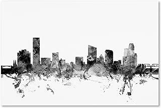 Grand Rapids MI Skyline B&W by Michael Tompsett, 22x32-Inch Canvas Wall Art
