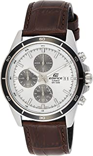 Casio Edifice Men's White Dial Leather Chronograph Watch - EFR-526L-7AVUDF