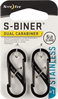 Nite Ize Size-1 S-Biner Dual Carabiner, Stainless-Steel, Black, 2-Pack
