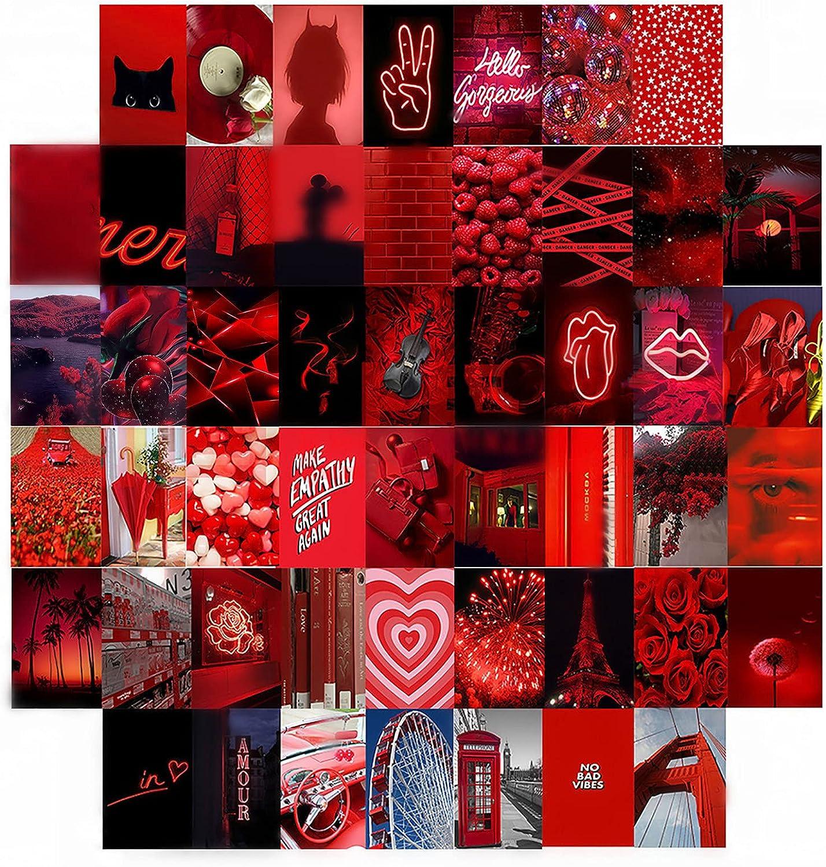 50PCS Kit de collage de pared de Navidad Decoración de habitación estética 80s Retro Indie Aesthetic Posters Wall Art Album Covers Dormitorio Photo Display (Rojo)
