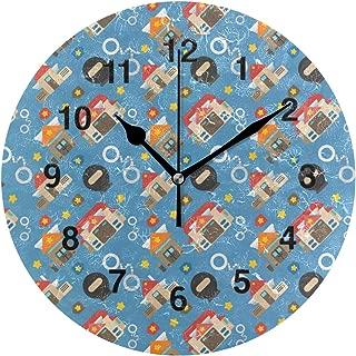 Jojogood Police Office Clock Wall Decor Acrylic Decorative Round Clock for Home Bedroom Living Room Art