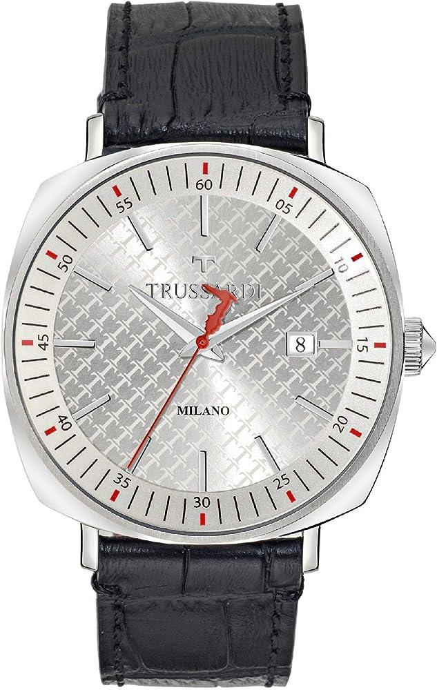 Trussardi, orologio analogico al quarzo per uomo, con cinturino in pelle  e cassa in acciaio inossidabile R2451121002