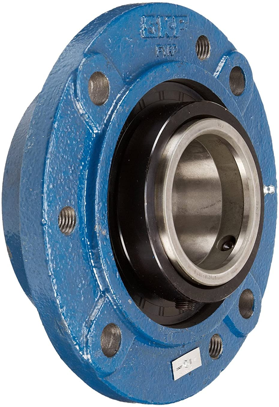 SKF FYRP 2.11/16 Heavy-Duty Spherical Bearing Piloted Flange Unit, 4 Bolts, Setscrew Locking, Expansion Type, Regreasable, Contact Seal, Cast Iron, 2.6875