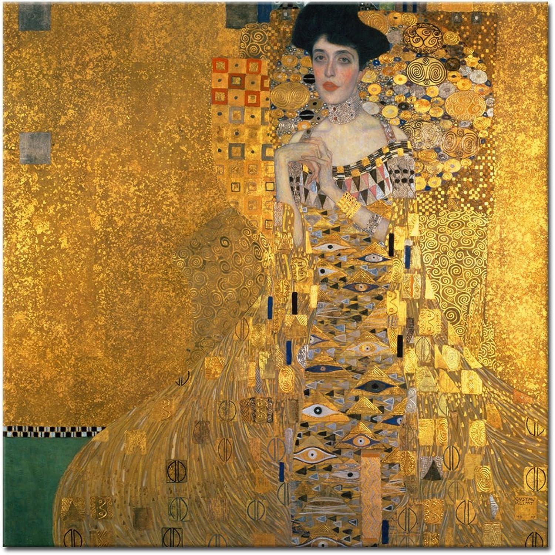 Wandkings Leinwandbild    Bildnis der Adele Bloch-Bauer  von Gustav Klimt   90 x 90 cm   auf Keilrahmen B015ZN7YCI 6d3098