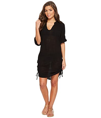 Seafolly Bali Hai Textured Gauze Beach Shirt Cover-Up (Black) Women