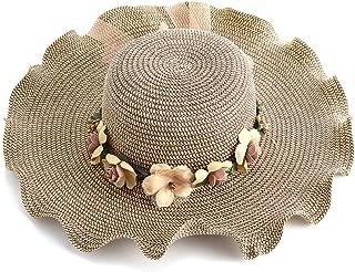 JAKAWIN Women Fashion Flower Lace Ribbon Wide Brim Caps Summer Beach Sun Protective Hat Fedora Straw Hats