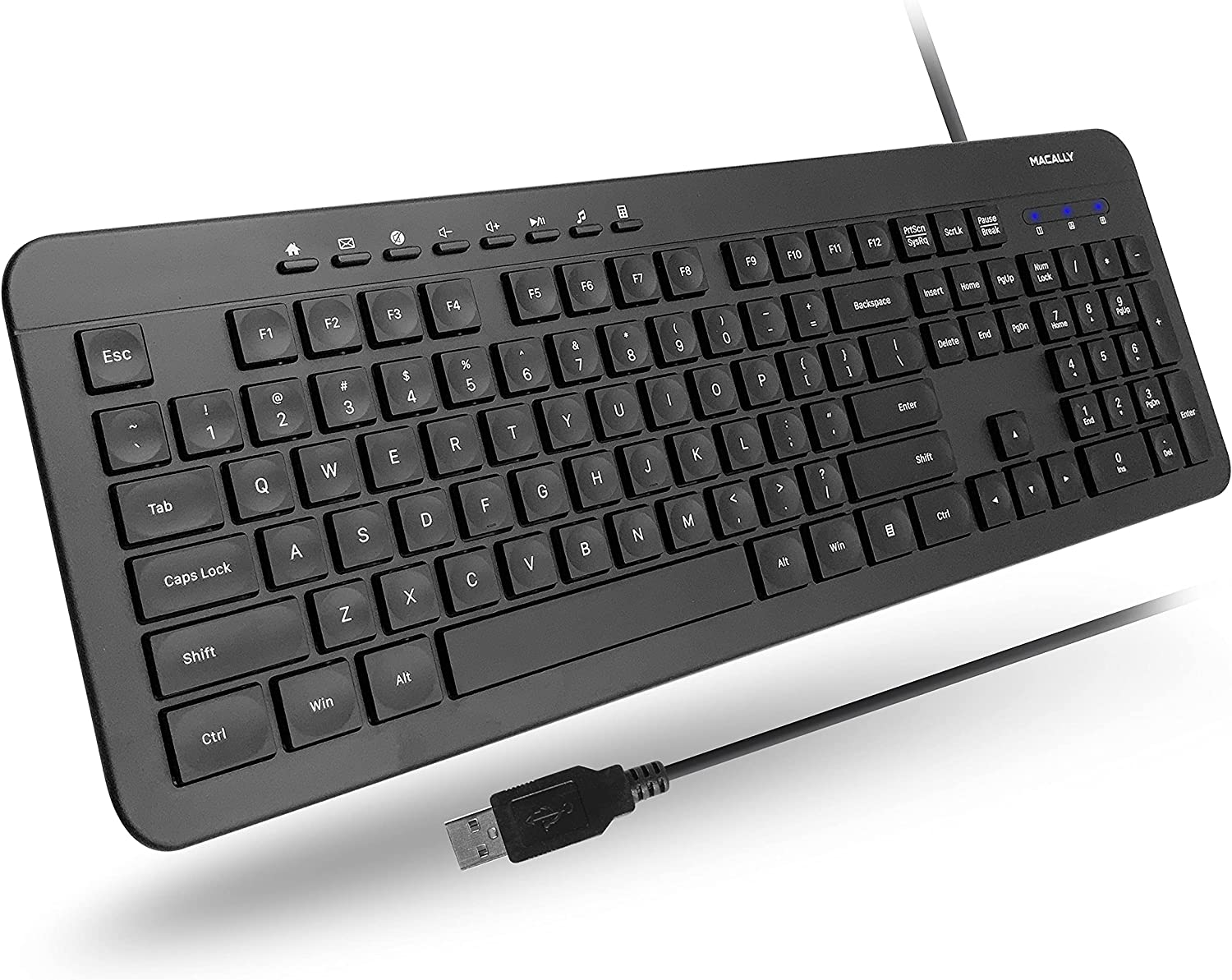Macally USB Wired Keyboard for Laptop and Desktop - A Simple Computer Keyboard and Easy to Use USB Keyboard Wired with 5ft Cable, 112 Slim Keys, and Numeric Keypad - Plug and Play for Windows PC