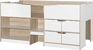 Birlea, Merlin Kids Cabin Bed, White & Light Oak