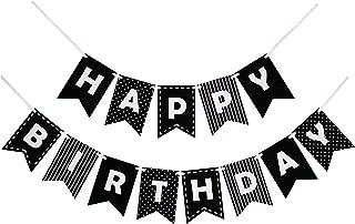 Decomod Happy Birthday Banner Bunting Laser Cut Felt 60 inches Wide - Black & White