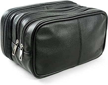 Lavievert Genuine Leather Toiletry Bag Grooming Shaving Accessory Dopp Kit Portable Travel Organizer with Three-layered Storage Sections & Handle Strap