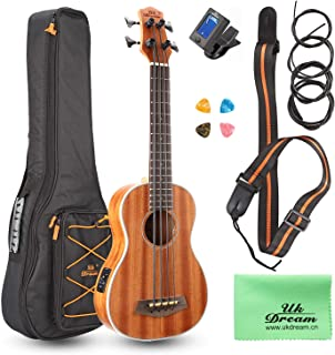 Uk Dream® Ukulele of Electric Acoustic Bass, Kits completos para principiantes y avanzados Uke Starter de Sopele Sapele Wood Hawaii para niños y estudiantes, 30 pulgadas (concierto, abeto) UB113