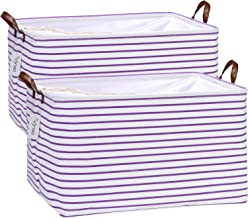 Hinwo 2-Pack Extra Large Canvas Fabric Storage Baskets with Handles, 70L Oversized Storage Bins, Collapsible Storage Box, ...