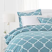 Pinzon 300TC Cotton Percale Duvet Cover Set, 100% Cotton, Spa Blue, Full/Queen