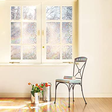 CottonColors Window Privacy Film Decorative Window Clings 3D Window Decals Static Stickers No-Adhesive Sliding Door Glass Fil